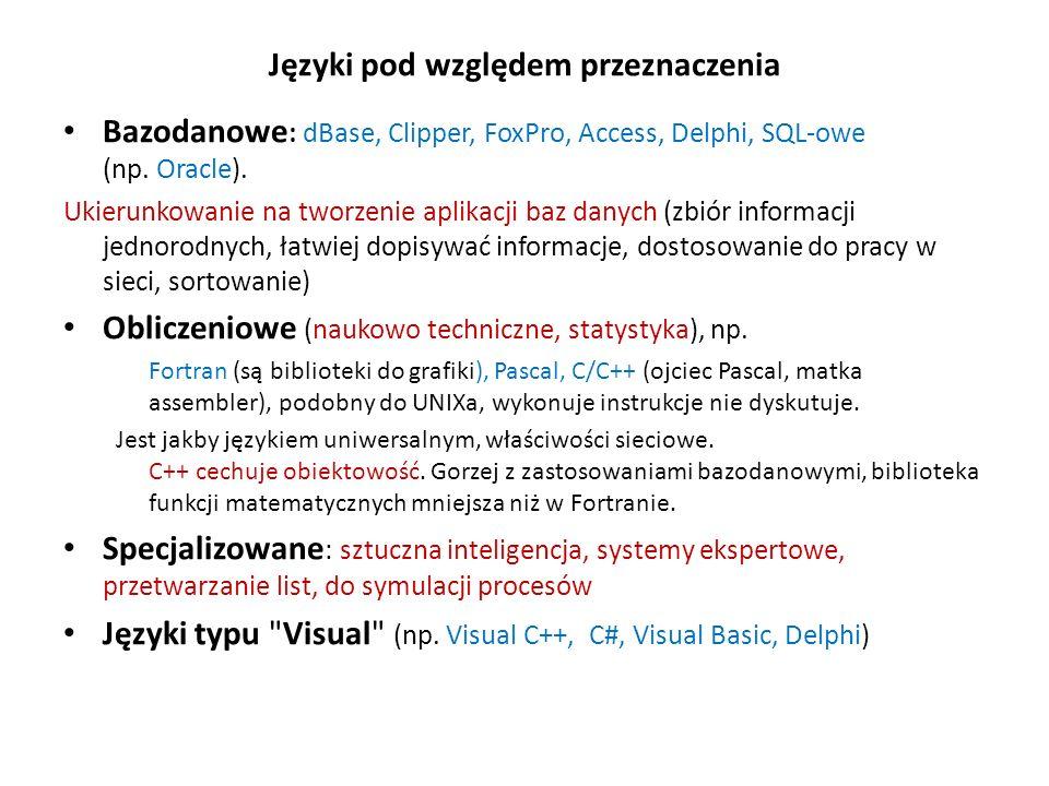 Języki pod względem przeznaczenia Bazodanowe : dBase, Clipper, FoxPro, Access, Delphi, SQL-owe (np. Oracle). Ukierunkowanie na tworzenie aplikacji baz