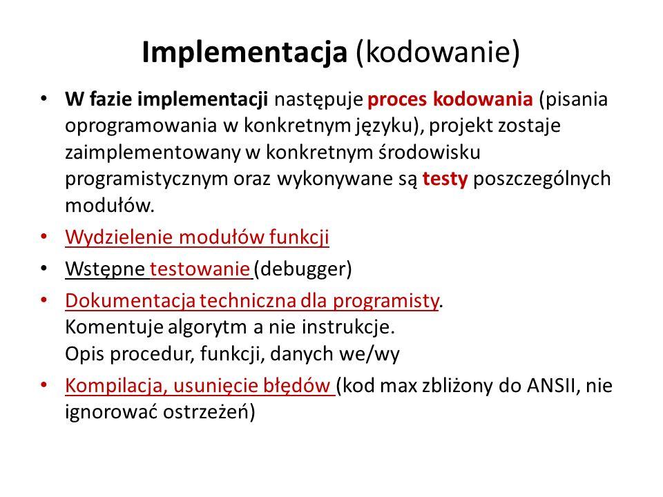 Implementacja (kodowanie) W fazie implementacji następuje proces kodowania (pisania oprogramowania w konkretnym języku), projekt zostaje zaimplementow
