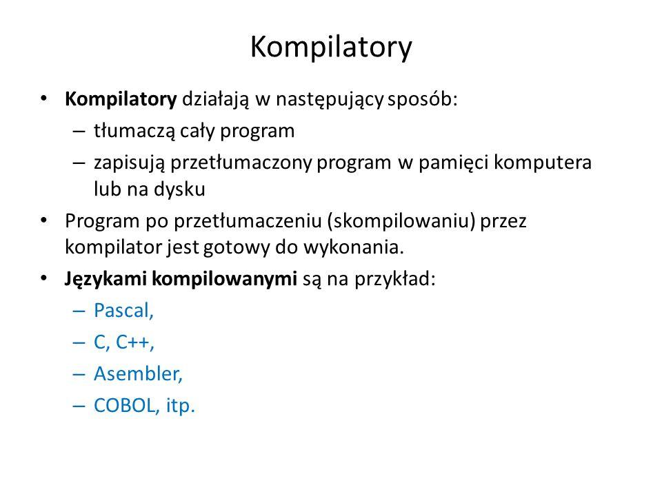 Kompilatory Kompilatory działają w następujący sposób: – tłumaczą cały program – zapisują przetłumaczony program w pamięci komputera lub na dysku Prog