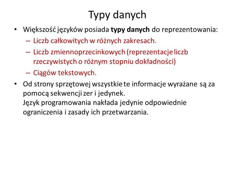 Typy danych Większość języków posiada typy danych do reprezentowania: – Liczb całkowitych w różnych zakresach. – Liczb zmiennoprzecinkowych (reprezent