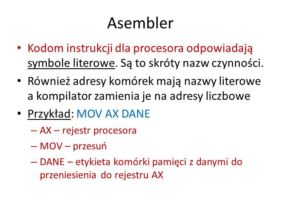 Asembler Kodom instrukcji dla procesora odpowiadają symbole literowe. Są to skróty nazw czynności. Również adresy komórek mają nazwy literowe a kompil