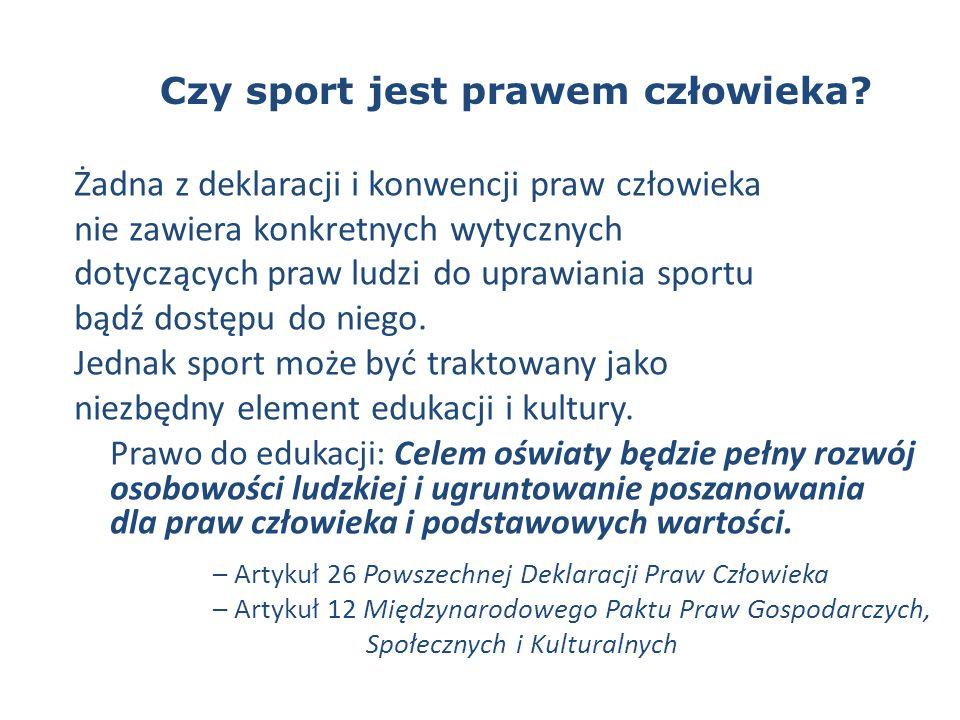 Czy sport jest prawem człowieka.