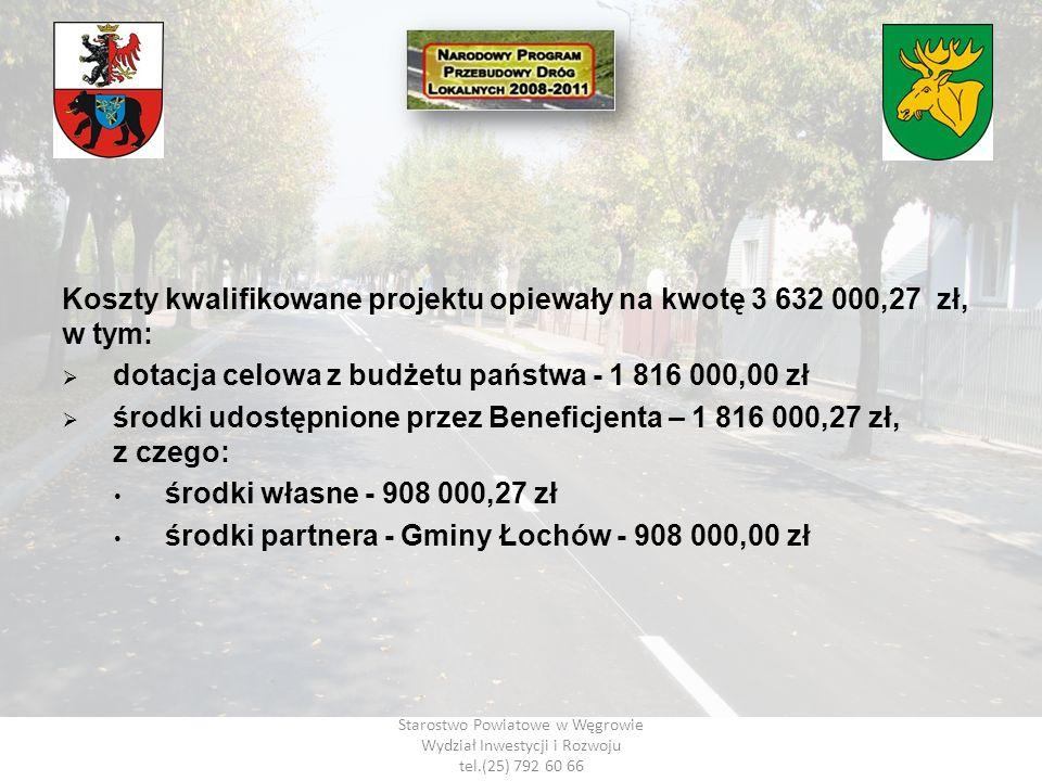 Starostwo Powiatowe w Węgrowie Wydział Inwestycji i Rozwoju tel.(25) 792 60 66 Koszty kwalifikowane projektu opiewały na kwotę 3 632 000,27 zł, w tym: