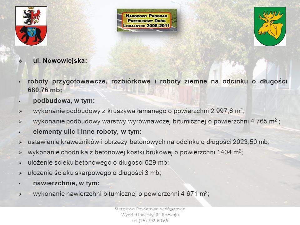 Starostwo Powiatowe w Węgrowie Wydział Inwestycji i Rozwoju tel.(25) 792 60 66 ul. Nowowiejska: roboty przygotowawcze, rozbiórkowe i roboty ziemne na