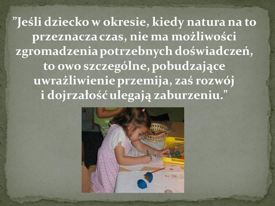 Jeśli dziecko w okresie, kiedy natura na to przeznacza czas, nie ma możliwości zgromadzenia potrzebnych doświadczeń, to owo szczególne, pobudzające uw