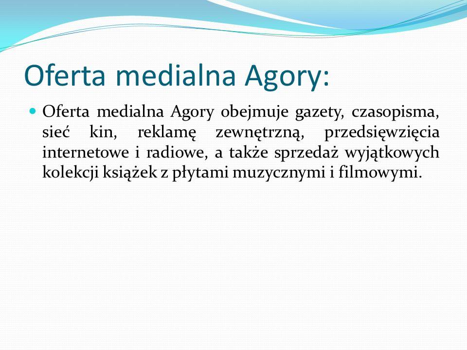 Oferta medialna Agory: Oferta medialna Agory obejmuje gazety, czasopisma, sieć kin, reklamę zewnętrzną, przedsięwzięcia internetowe i radiowe, a także