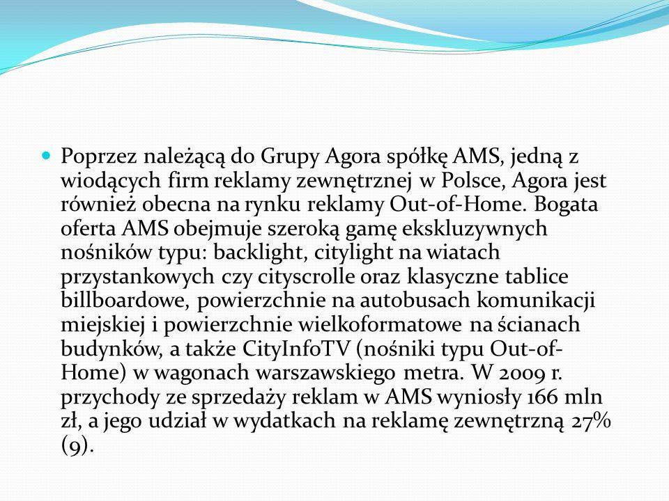 Poprzez należącą do Grupy Agora spółkę AMS, jedną z wiodących firm reklamy zewnętrznej w Polsce, Agora jest również obecna na rynku reklamy Out-of-Hom