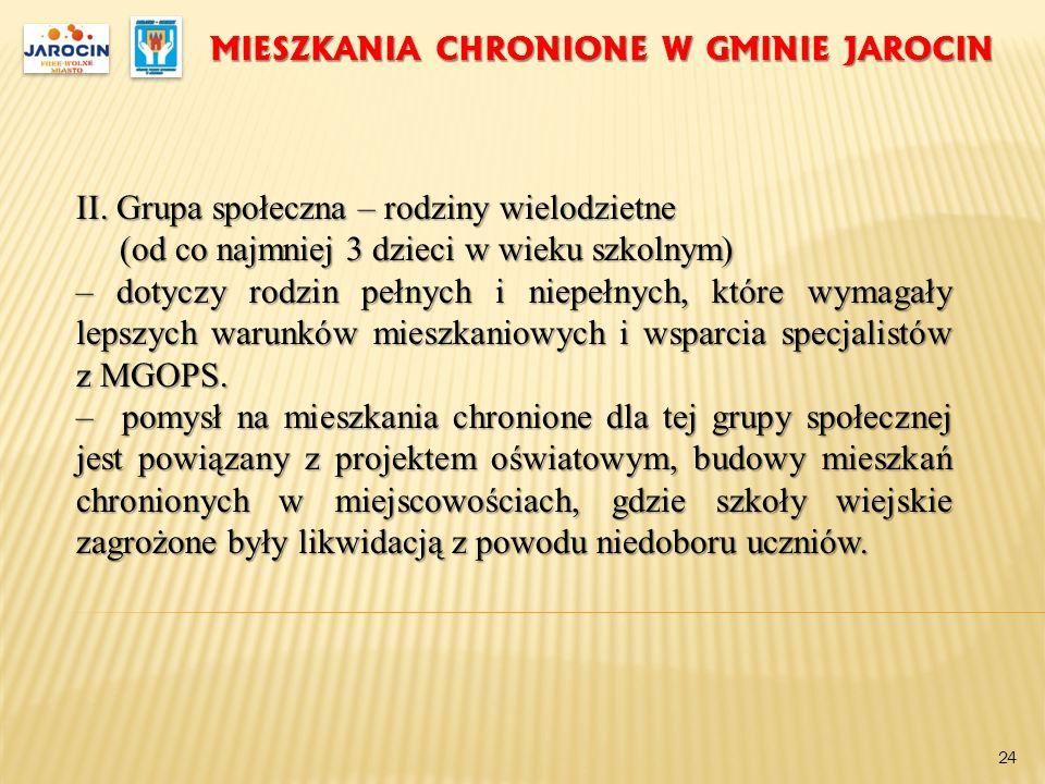 MIESZKANIA CHRONIONE W GMINIE JAROCIN II. Grupa społeczna – rodziny wielodzietne (od co najmniej 3 dzieci w wieku szkolnym) (od co najmniej 3 dzieci w