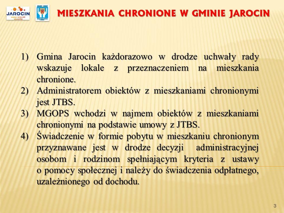 MIESZKANIA CHRONIONE W GMINIE JAROCIN 1)Gmina Jarocin każdorazowo w drodze uchwały rady wskazuje lokale z przeznaczeniem na mieszkania chronione. 2)Ad