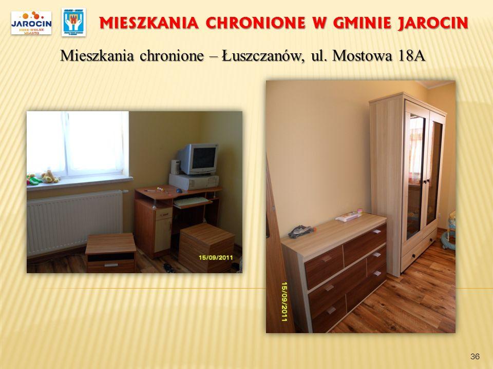 MIESZKANIA CHRONIONE W GMINIE JAROCIN Mieszkania chronione – Łuszczanów, ul. Mostowa 18A 36