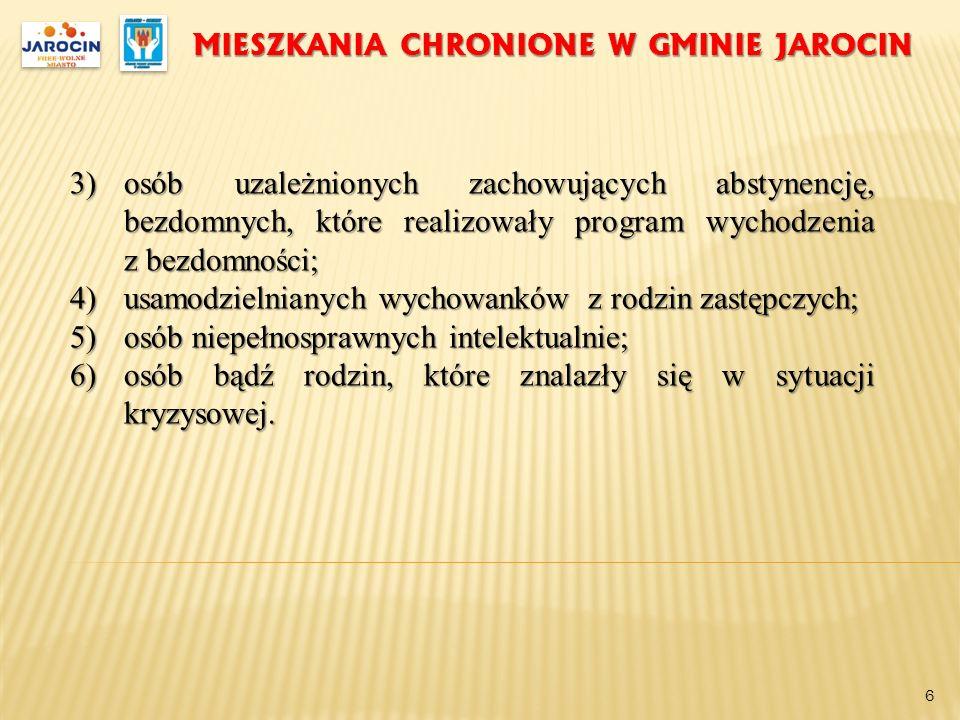 MIESZKANIA CHRONIONE W GMINIE JAROCIN 3)osób uzależnionych zachowujących abstynencję, bezdomnych, które realizowały program wychodzenia z bezdomności;