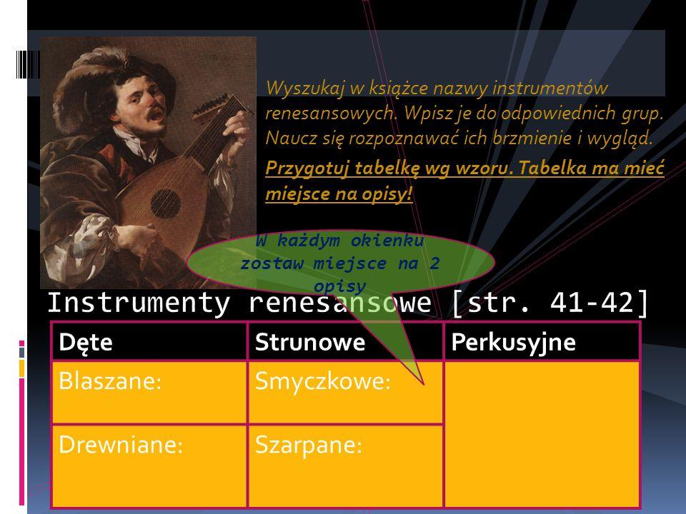Wyszukaj w książce nazwy instrumentów renesansowych.
