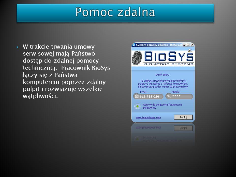 W trakcie trwania umowy serwisowej mają Państwo dostęp do zdalnej pomocy technicznej. Pracownik BioSys łączy się z Państwa komputerem poprzez zdalny p