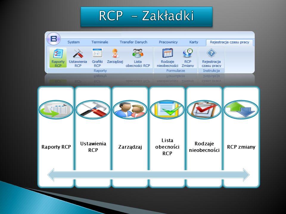 Raporty RCP Ustawienia RCP Zarządzaj Lista obecności RCP Rodzaje nieobecności RCP zmiany