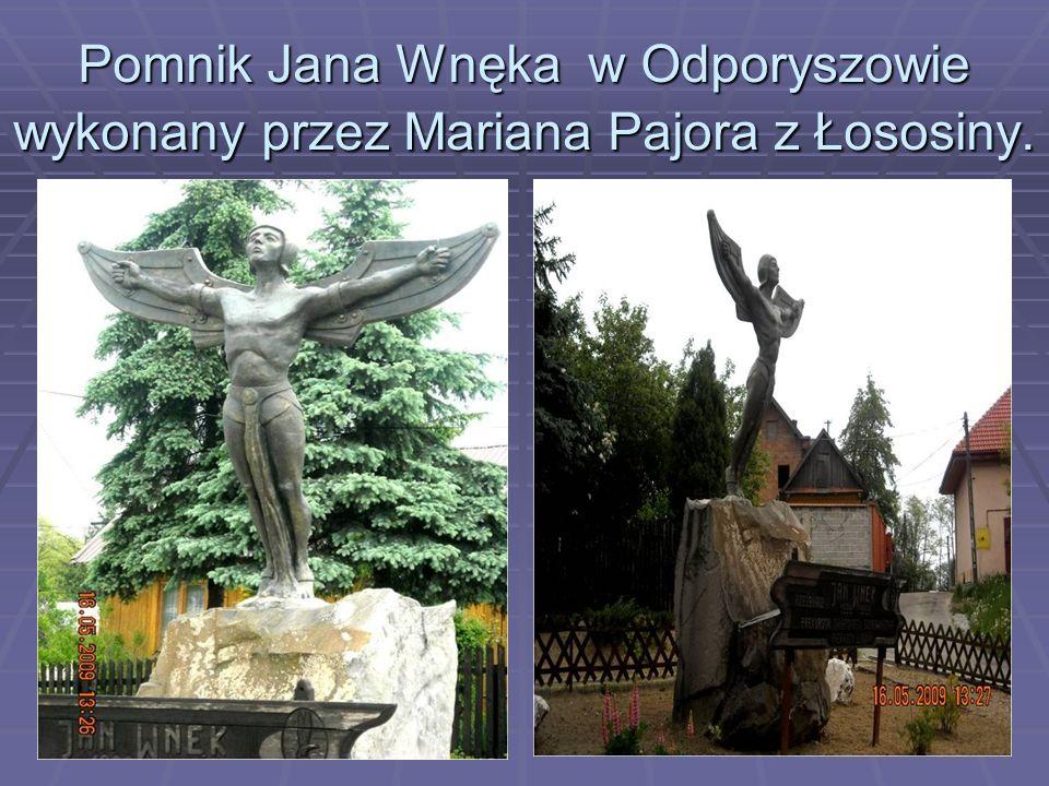 Pomnik Jana Wnęka w Odporyszowie wykonany przez Mariana Pajora z Łososiny.