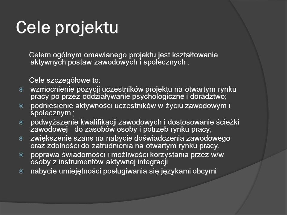 Zarządzenie projektem Projektem zarządza zespół składający się z: dyrektora, koordynatora, pracownika socjalnego i doradcy ds. osób niepełnosprawnych,