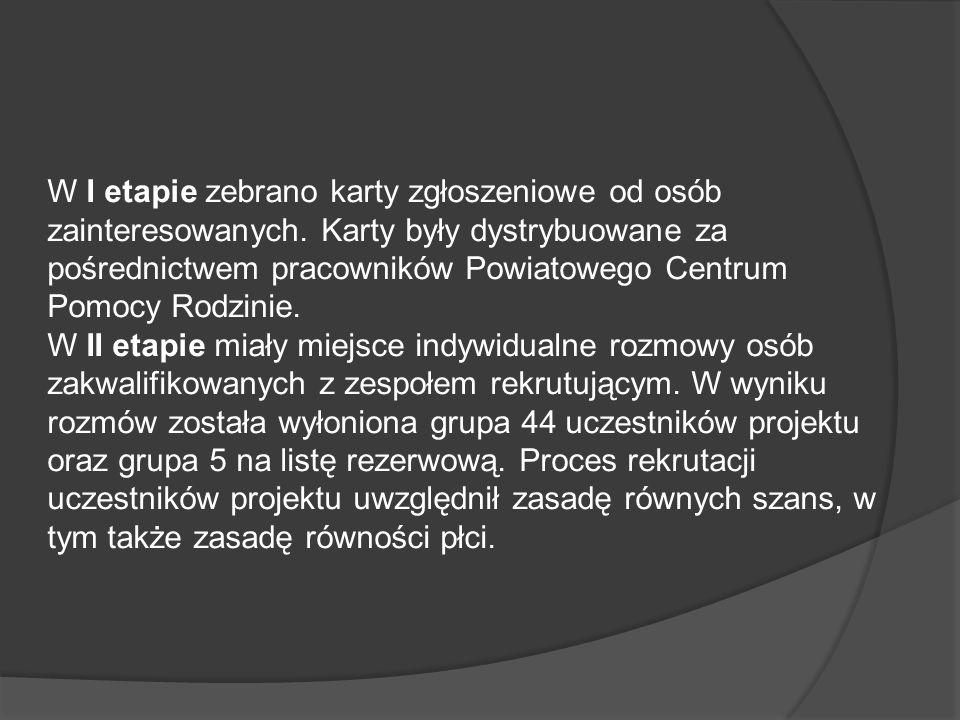Opis zadania Projekt zawierał szereg zintegrowanych działań w zakresie aktywizacji zawodowej i społecznej łącznie 44 osób niepełnosprawnych, uchodźców i wychowanków placówek i rodzin zastępczych zamieszkujących na terenie Powiatu Nowodworskiego.
