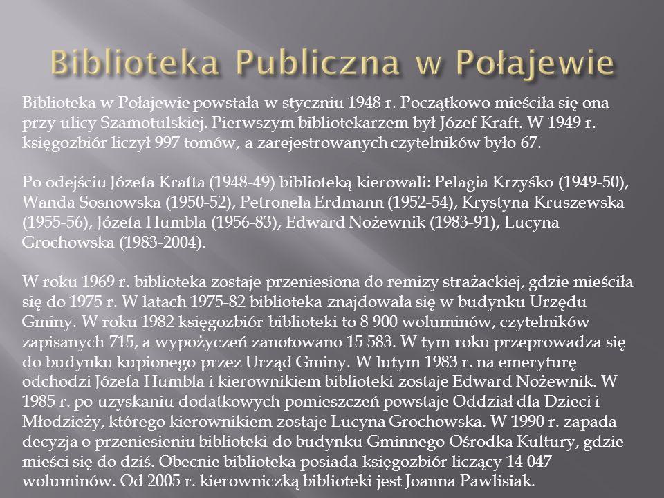Biblioteka w Połajewie powstała w styczniu 1948 r.