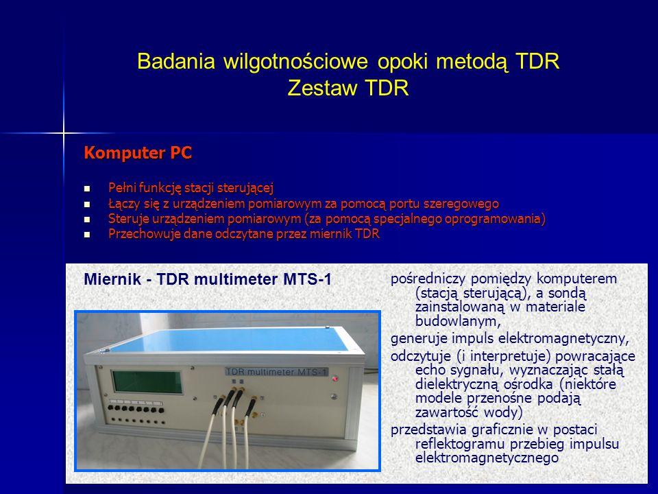 pośredniczy pomiędzy komputerem (stacją sterującą), a sondą zainstalowaną w materiale budowlanym, generuje impuls elektromagnetyczny, odczytuje (i int