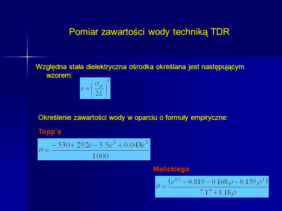 Pomiar zawartości wody techniką TDR Względna stała dielektryczna ośrodka określana jest następującym wzorem: Określenie zawartości wody w oparciu o fo