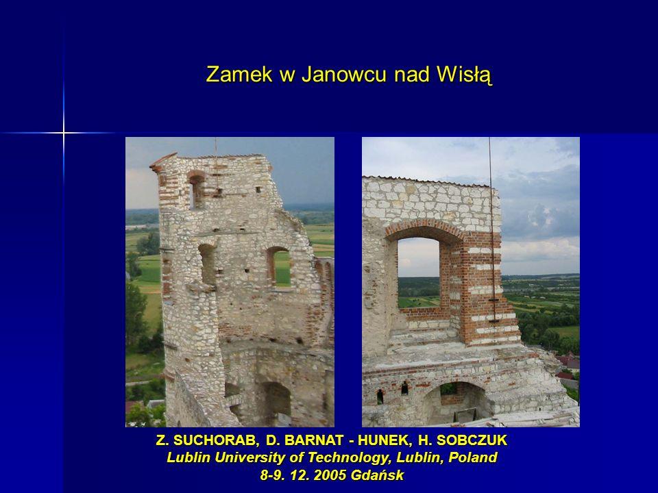 Zamek w Janowcu nad Wisłą Z. SUCHORAB, D. BARNAT - HUNEK, H. SOBCZUK Lublin University of Technology, Lublin, Poland 8-9. 12. 2005 Gdańsk