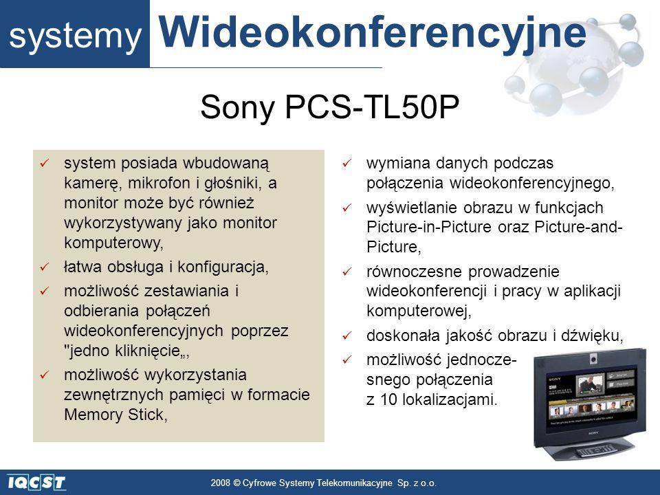 systemy Wideokonferencyjne 2008 © Cyfrowe Systemy Telekomunikacyjne Sp. z o.o. system posiada wbudowaną kamerę, mikrofon i głośniki, a monitor może by
