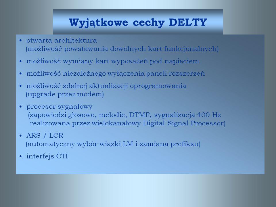 Podstawowe cechy systemu Delta Modułowa budowa –rozbudowa przez dodanie Panela Rozszerzeń –rozbudowa przez dodanie pakietu System slotów uniwersalnych