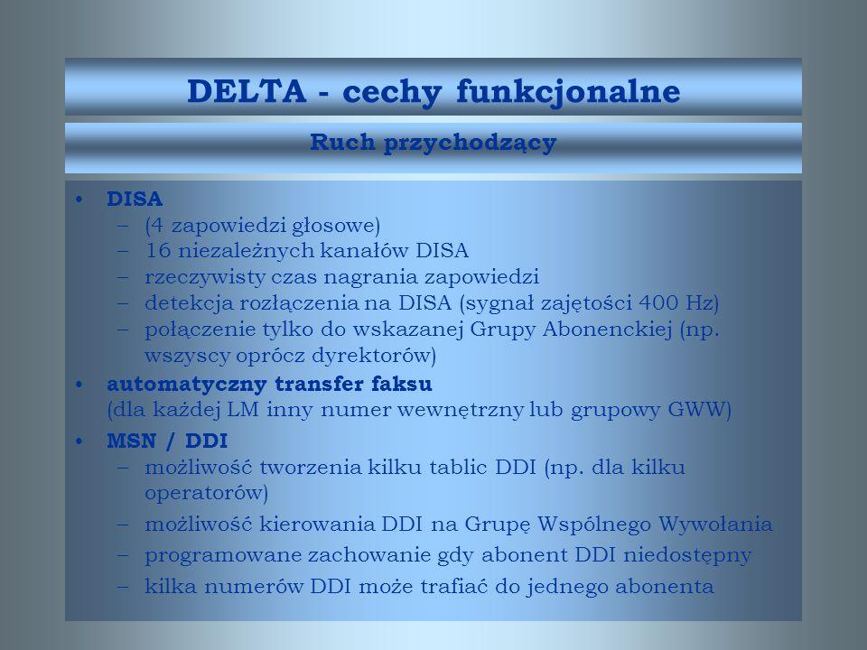 W wyposażeniu dodatkowym: odbiorniki teletaksy przedłużenie pracy rezerwowej (dla Delta 160 i 320) zabezpieczenia odgromowe (system KRONE) przekaźniki