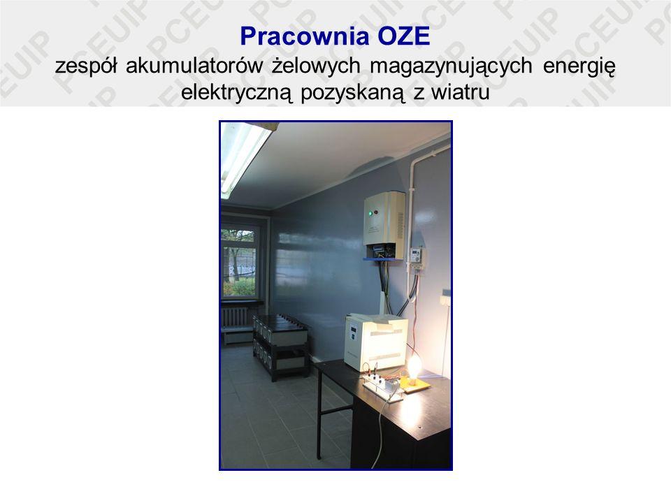 Pracownia OZE zespół akumulatorów żelowych magazynujących energię elektryczną pozyskaną z wiatru
