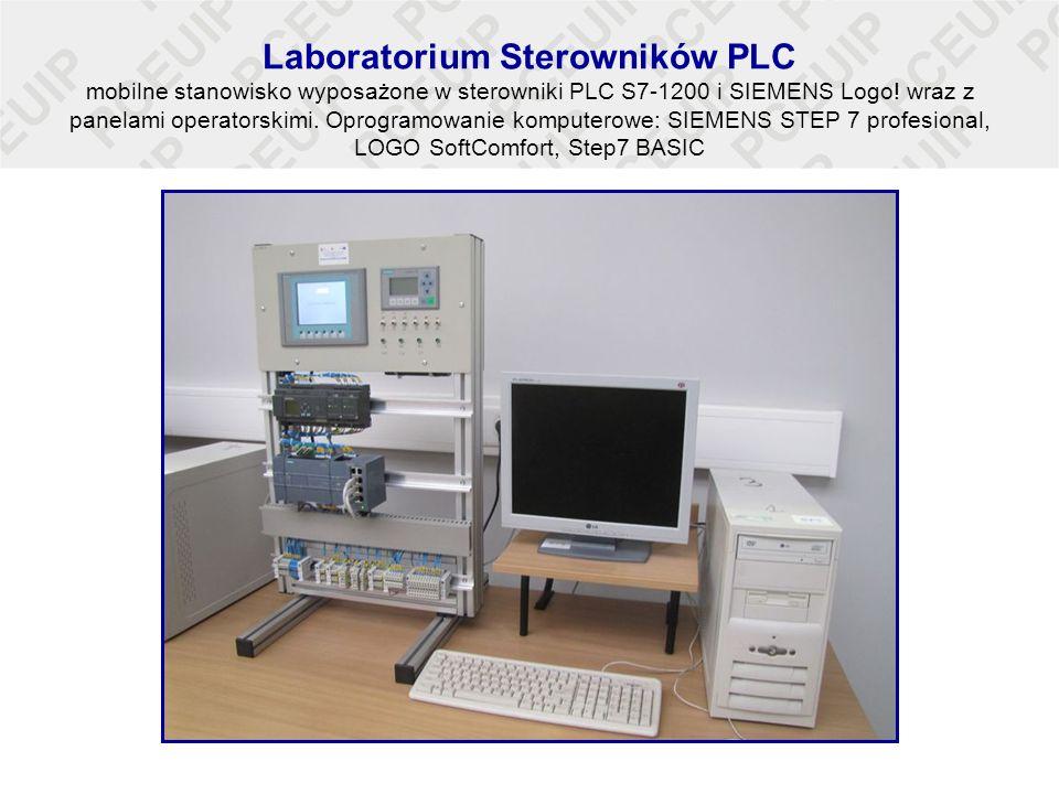Laboratorium Sterowników PLC mobilne stanowisko wyposażone w sterowniki PLC S7-1200 i SIEMENS Logo! wraz z panelami operatorskimi. Oprogramowanie komp