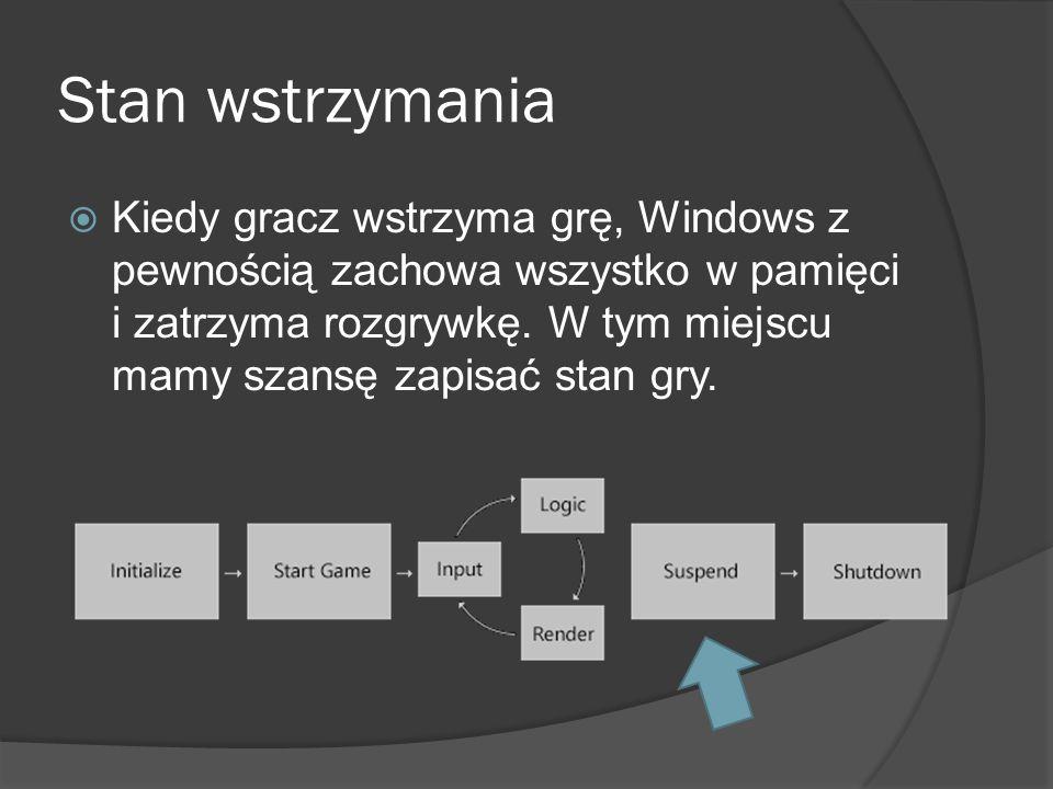Stan wstrzymania Kiedy gracz wstrzyma grę, Windows z pewnością zachowa wszystko w pamięci i zatrzyma rozgrywkę. W tym miejscu mamy szansę zapisać stan