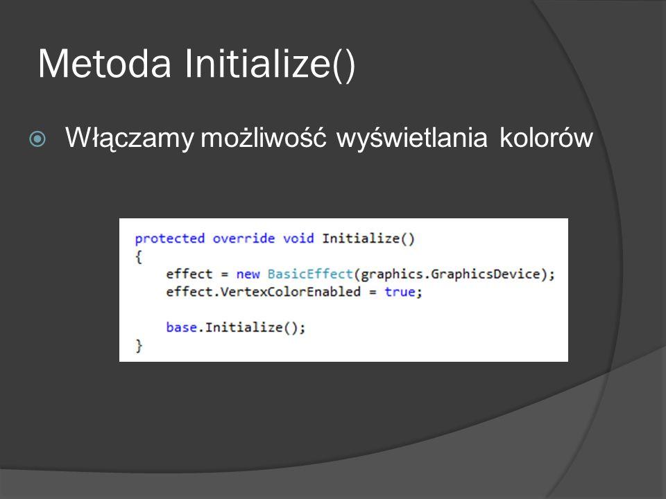 Metoda Initialize() Włączamy możliwość wyświetlania kolorów