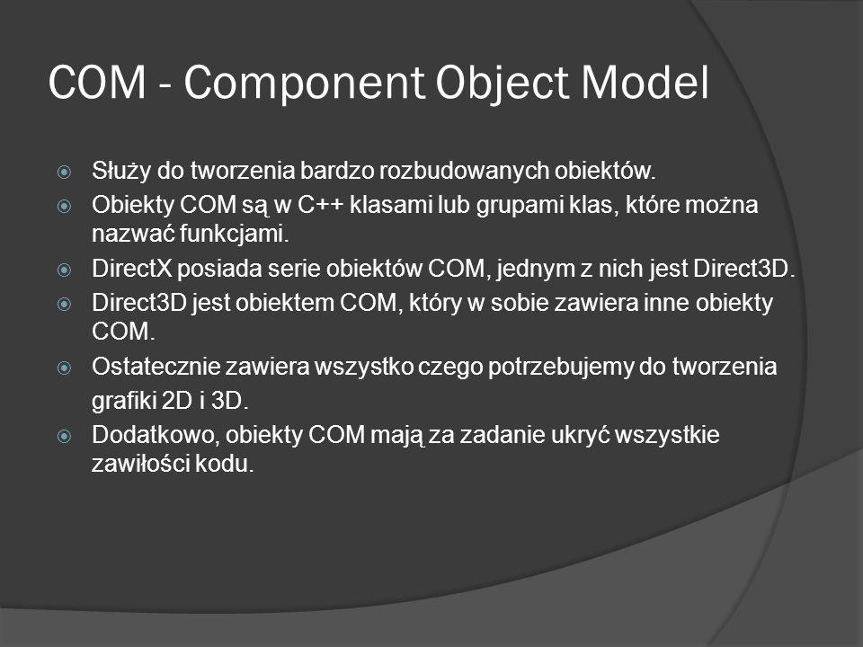 COM - Component Object Model Służy do tworzenia bardzo rozbudowanych obiektów. Obiekty COM są w C++ klasami lub grupami klas, które można nazwać funkc