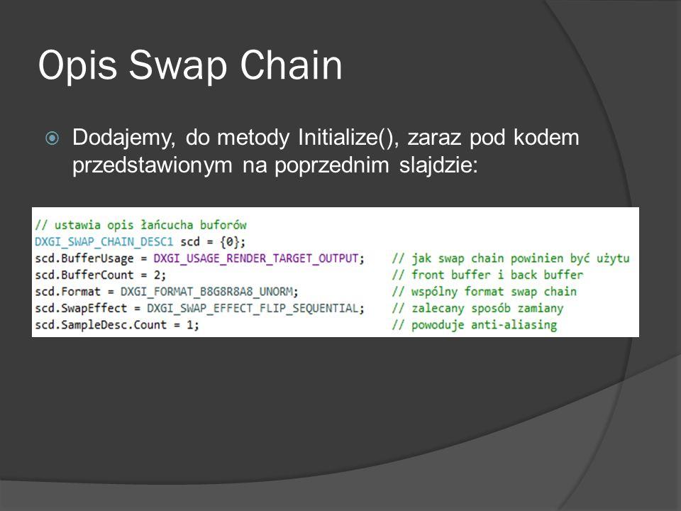 Opis Swap Chain Dodajemy, do metody Initialize(), zaraz pod kodem przedstawionym na poprzednim slajdzie:
