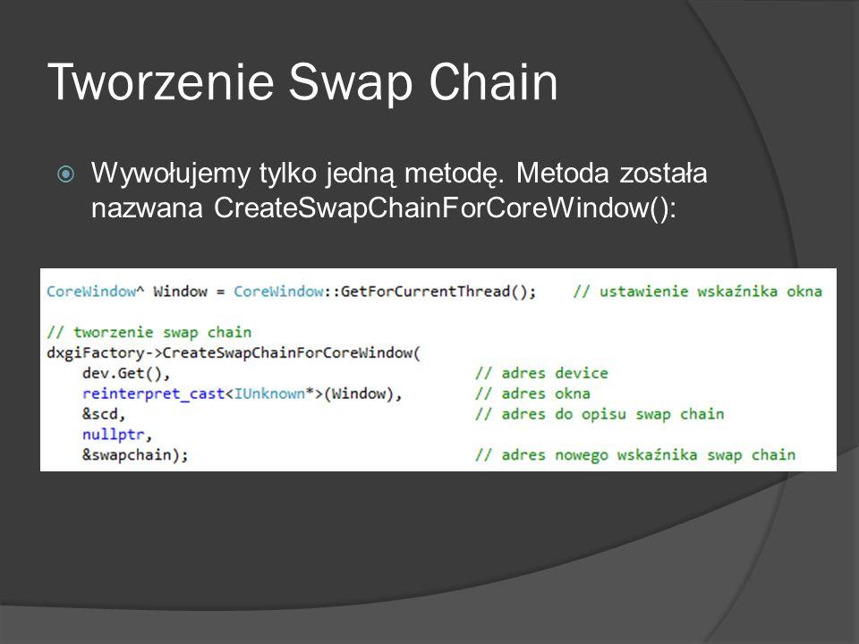 Tworzenie Swap Chain Wywołujemy tylko jedną metodę. Metoda została nazwana CreateSwapChainForCoreWindow():