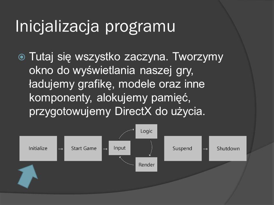 Inicjalizacja programu Tutaj się wszystko zaczyna. Tworzymy okno do wyświetlania naszej gry, ładujemy grafikę, modele oraz inne komponenty, alokujemy