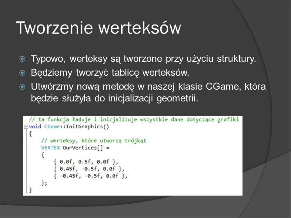 Tworzenie werteksów Typowo, werteksy są tworzone przy użyciu struktury. Będziemy tworzyć tablicę werteksów. Utwórzmy nową metodę w naszej klasie CGame