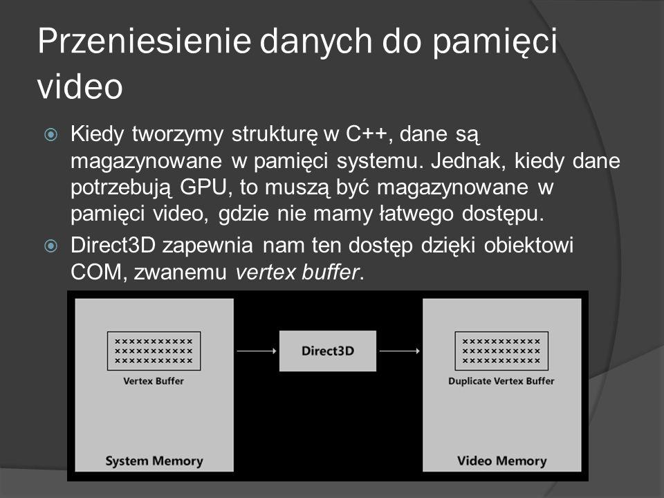 Przeniesienie danych do pamięci video Kiedy tworzymy strukturę w C++, dane są magazynowane w pamięci systemu. Jednak, kiedy dane potrzebują GPU, to mu