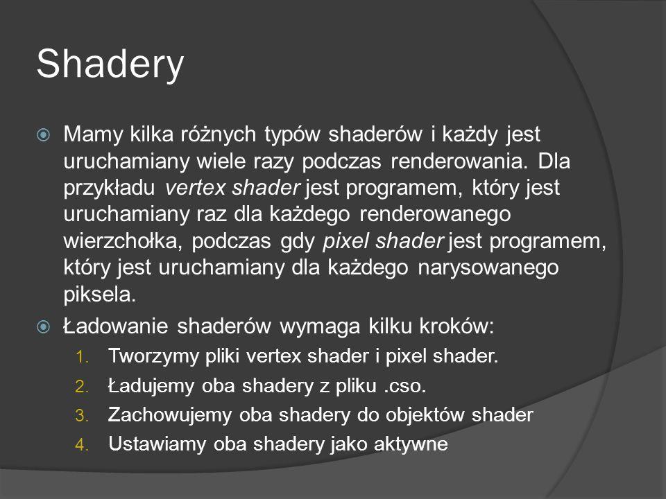 Shadery Mamy kilka różnych typów shaderów i każdy jest uruchamiany wiele razy podczas renderowania. Dla przykładu vertex shader jest programem, który