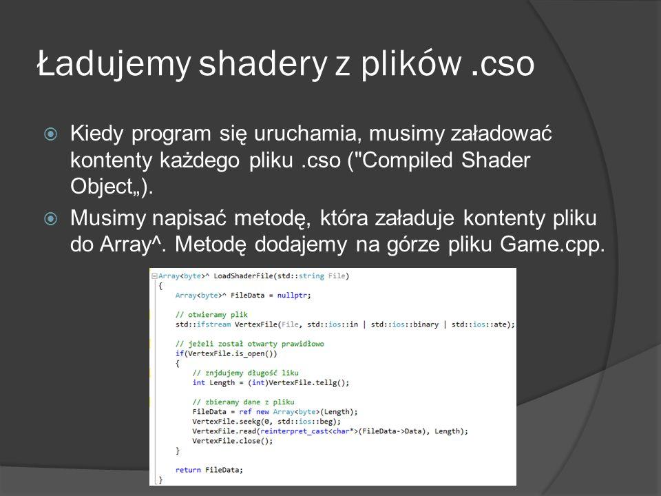 Ładujemy shadery z plików.cso Kiedy program się uruchamia, musimy załadować kontenty każdego pliku.cso (