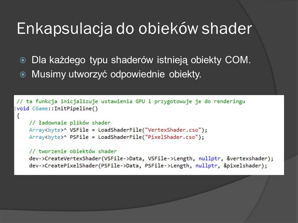 Enkapsulacja do obieków shader Dla każdego typu shaderów istnieją obiekty COM. Musimy utworzyć odpowiednie obiekty.