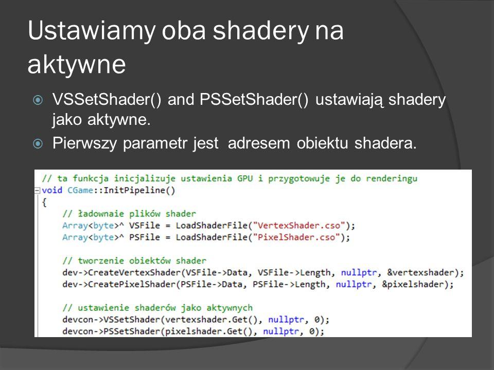 Ustawiamy oba shadery na aktywne VSSetShader() and PSSetShader() ustawiają shadery jako aktywne. Pierwszy parametr jest adresem obiektu shadera.