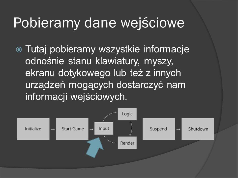 Pobieramy dane wejściowe Tutaj pobieramy wszystkie informacje odnośnie stanu klawiatury, myszy, ekranu dotykowego lub też z innych urządzeń mogących d