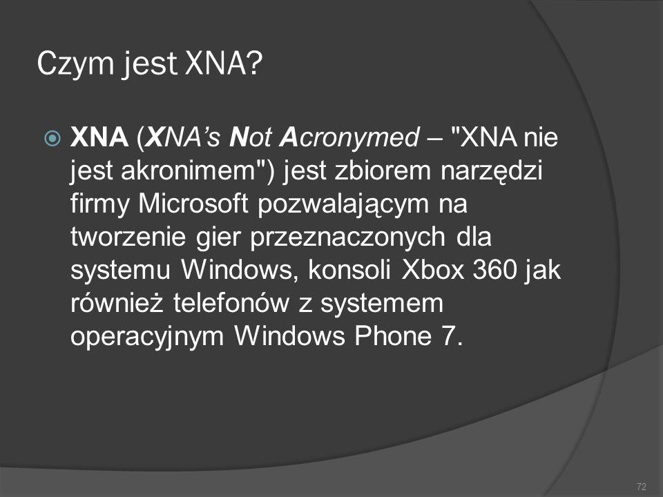 Czym jest XNA? XNA (XNAs Not Acronymed –