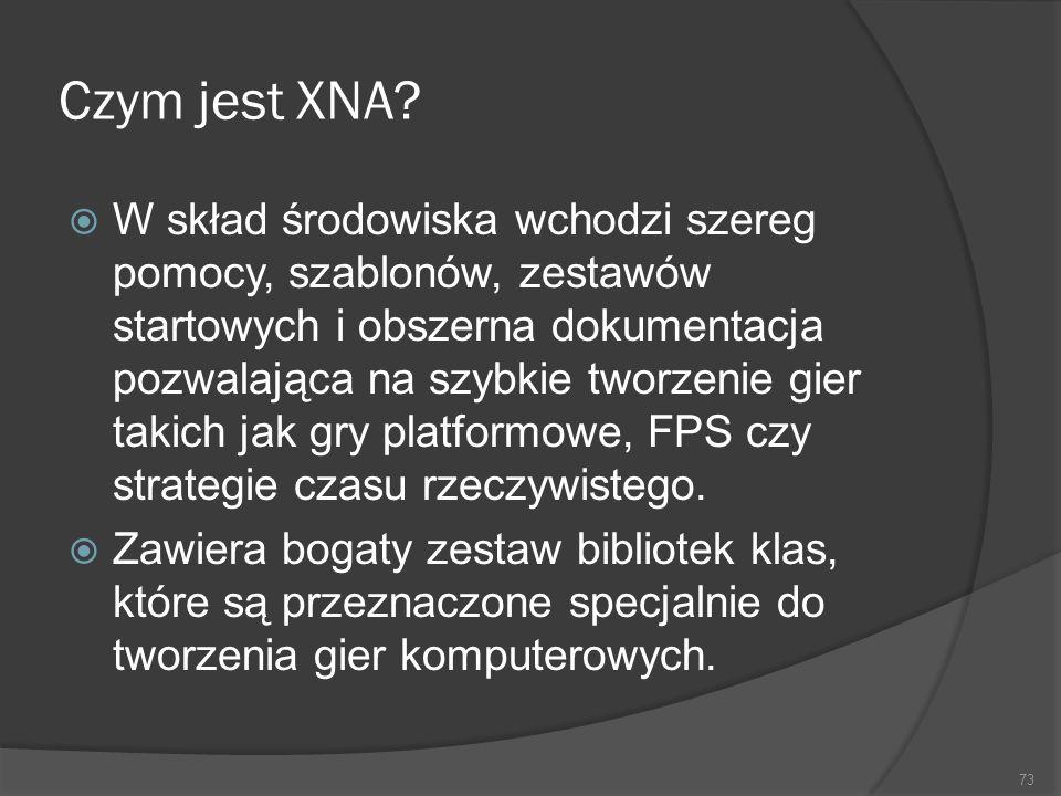 Czym jest XNA? W skład środowiska wchodzi szereg pomocy, szablonów, zestawów startowych i obszerna dokumentacja pozwalająca na szybkie tworzenie gier