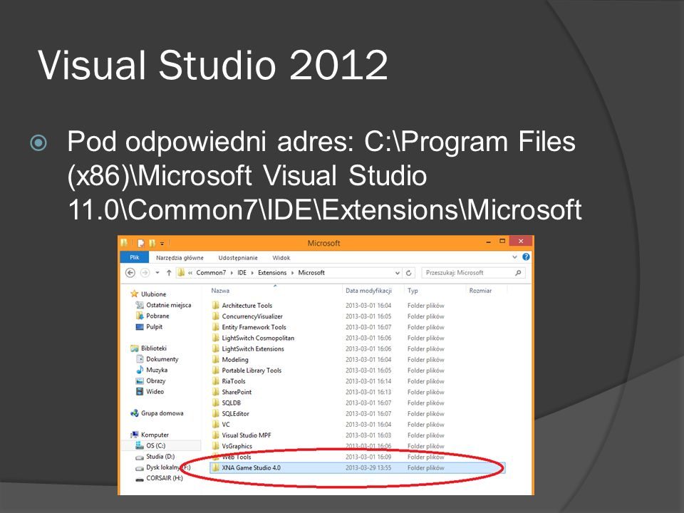 Visual Studio 2012 Pod odpowiedni adres: C:\Program Files (x86)\Microsoft Visual Studio 11.0\Common7\IDE\Extensions\Microsoft
