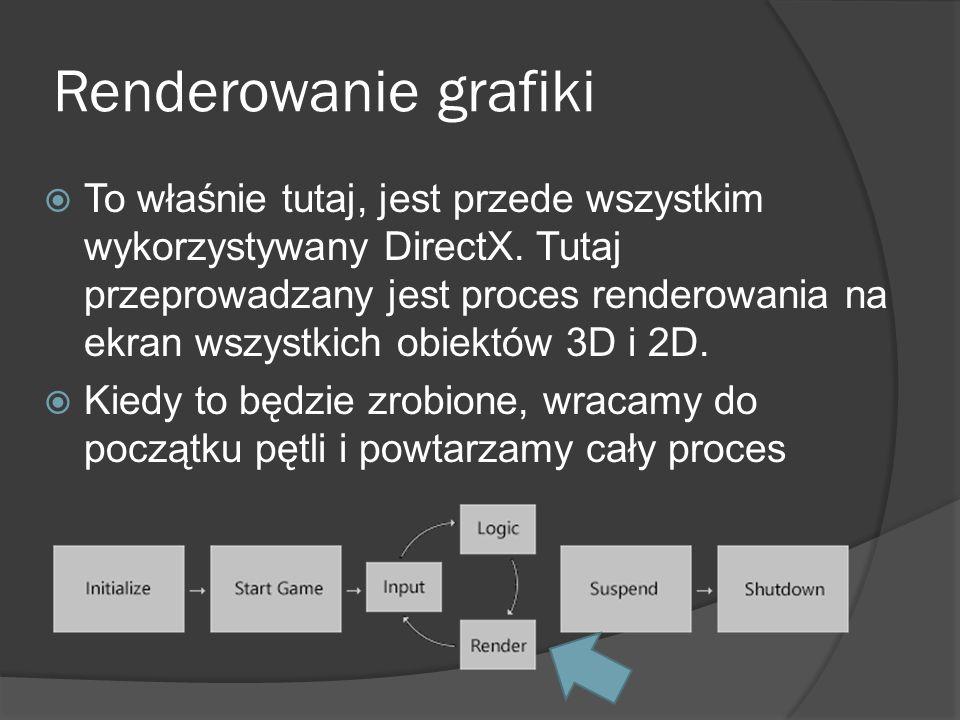Renderowanie grafiki To właśnie tutaj, jest przede wszystkim wykorzystywany DirectX. Tutaj przeprowadzany jest proces renderowania na ekran wszystkich
