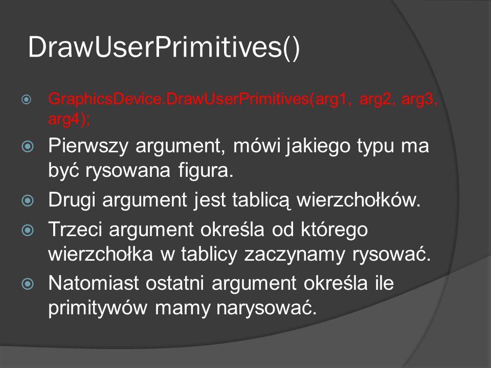 DrawUserPrimitives() GraphicsDevice.DrawUserPrimitives(arg1, arg2, arg3, arg4); Pierwszy argument, mówi jakiego typu ma być rysowana figura. Drugi arg