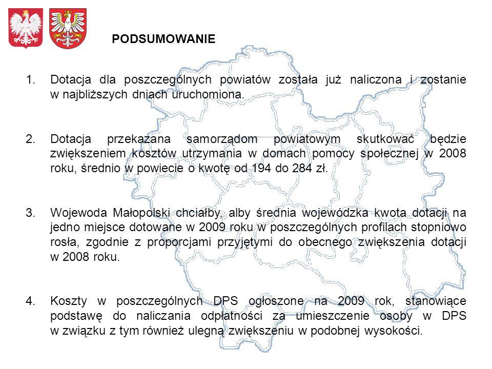 1.Dotacja dla poszczególnych powiatów została już naliczona i zostanie w najbliższych dniach uruchomiona. 2.Dotacja przekazana samorządom powiatowym s