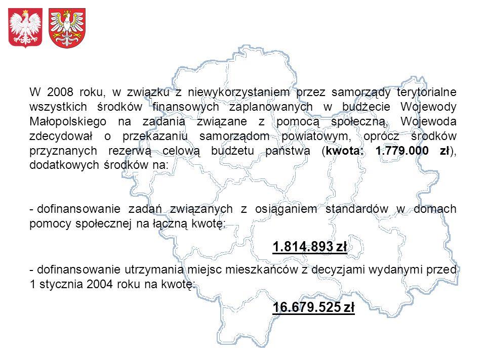 W 2008 roku, w związku z niewykorzystaniem przez samorządy terytorialne wszystkich środków finansowych zaplanowanych w budżecie Wojewody Małopolskiego na zadania związane z pomocą społeczną, Wojewoda zdecydował o przekazaniu samorządom powiatowym, oprócz środków przyznanych rezerwą celową budżetu państwa (kwota: 1.779.000 zł), dodatkowych środków na: - dofinansowanie zadań związanych z osiąganiem standardów w domach pomocy społecznej na łączną kwotę: 1.814.893 zł - dofinansowanie utrzymania miejsc mieszkańców z decyzjami wydanymi przed 1 stycznia 2004 roku na kwotę: 16.679.525 zł